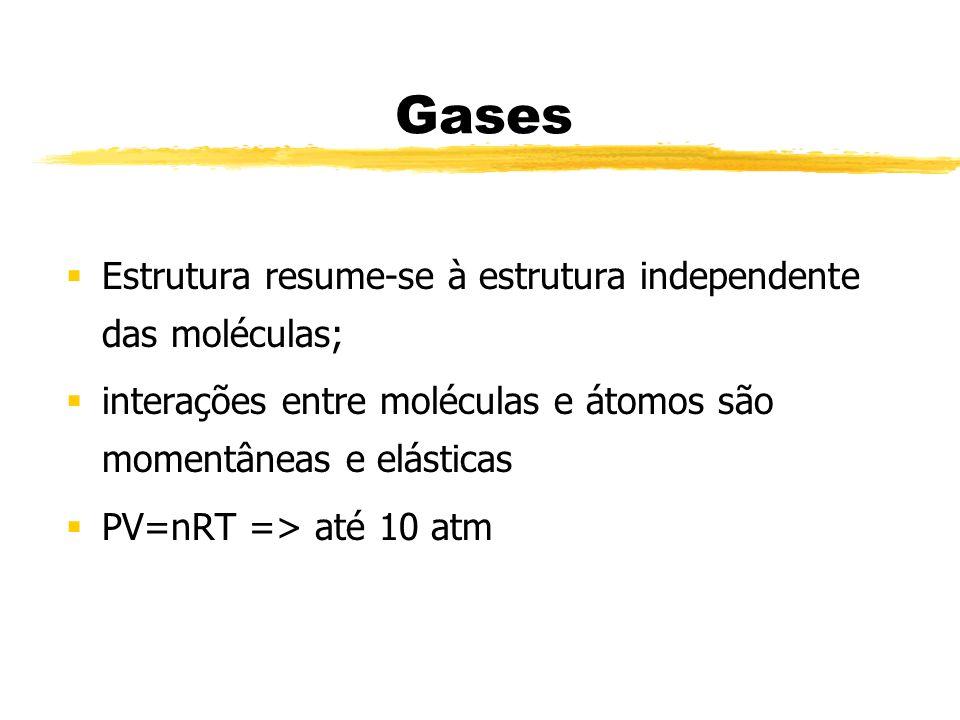 Gases Estrutura resume-se à estrutura independente das moléculas; interações entre moléculas e átomos são momentâneas e elásticas PV=nRT => até 10 atm