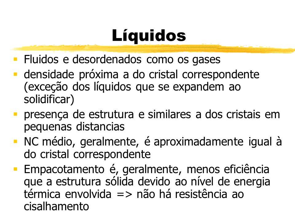 Líquidos Fluidos e desordenados como os gases densidade próxima a do cristal correspondente (exceção dos líquidos que se expandem ao solidificar) pres