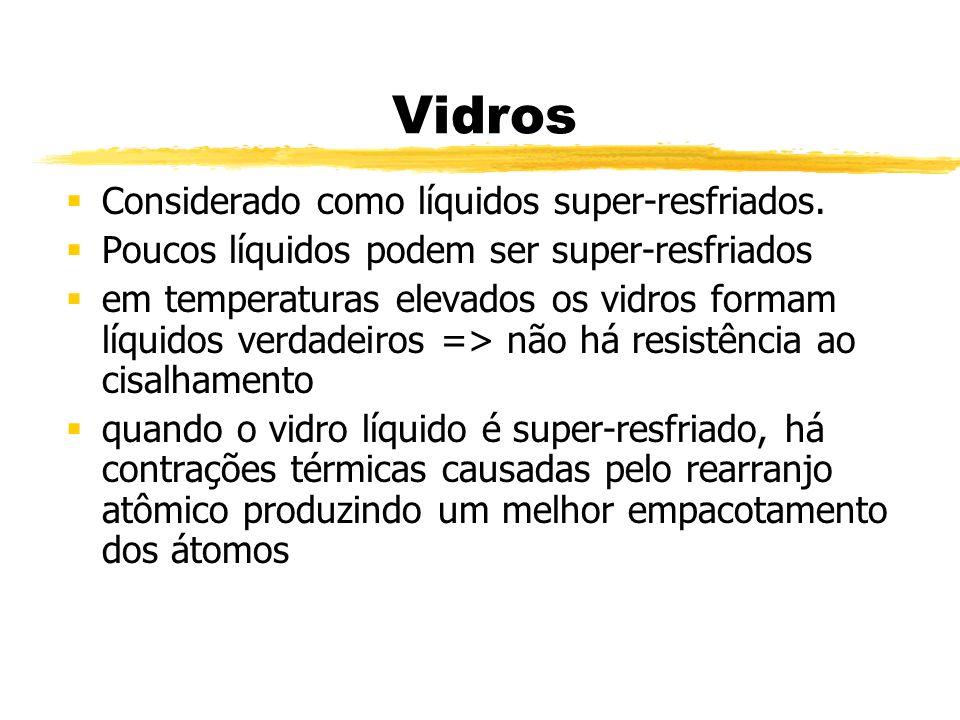 Vidros Considerado como líquidos super-resfriados. Poucos líquidos podem ser super-resfriados em temperaturas elevados os vidros formam líquidos verda
