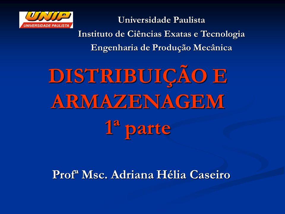 DISTRIBUIÇÃO E ARMAZENAGEM 1ª parte Profª Msc. Adriana Hélia Caseiro Universidade Paulista Instituto de Ciências Exatas e Tecnologia Engenharia de Pro