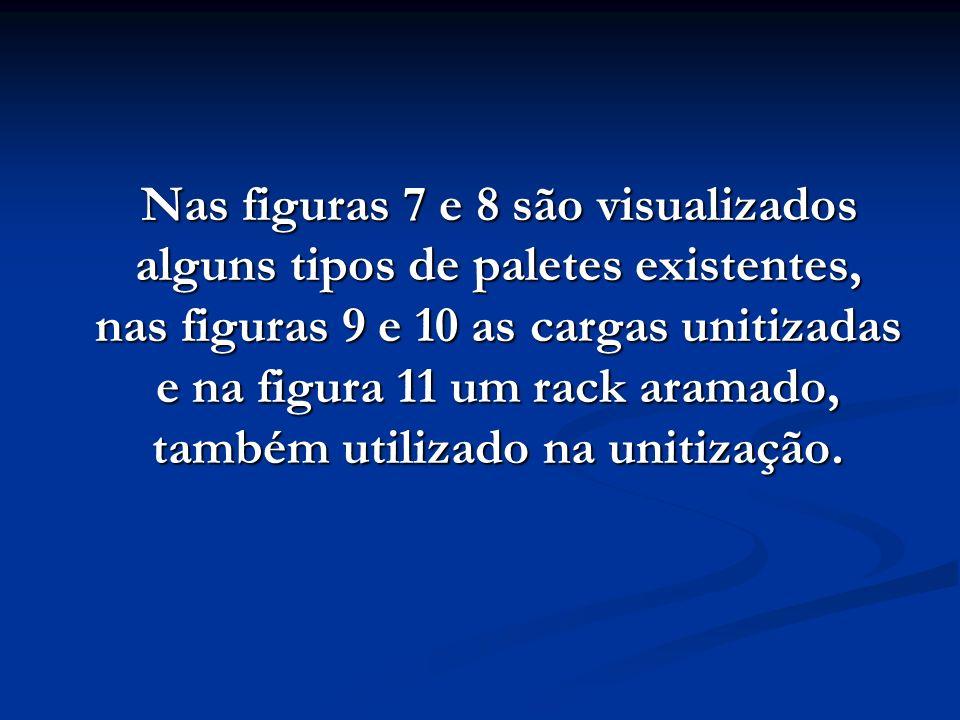 Nas figuras 7 e 8 são visualizados alguns tipos de paletes existentes, nas figuras 9 e 10 as cargas unitizadas e na figura 11 um rack aramado, também
