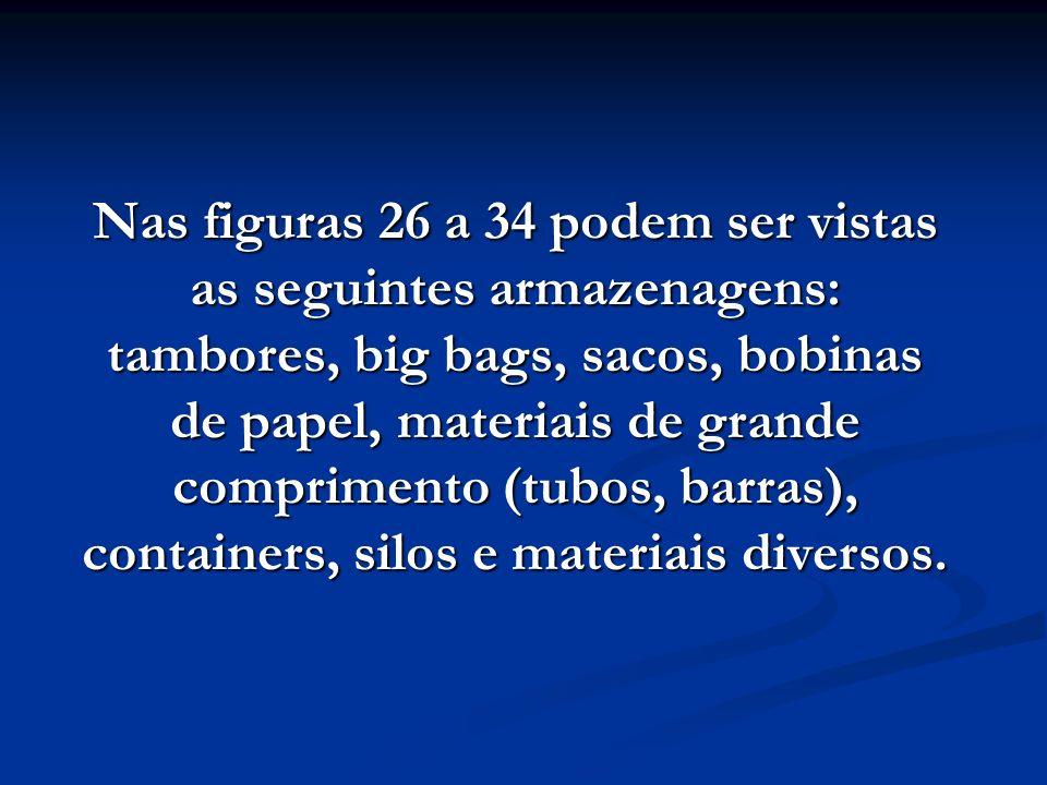 Nas figuras 26 a 34 podem ser vistas as seguintes armazenagens: tambores, big bags, sacos, bobinas de papel, materiais de grande comprimento (tubos, b