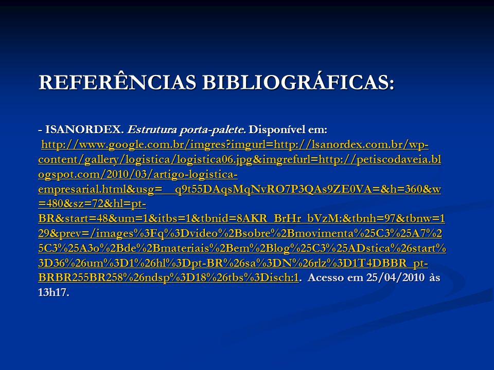 REFERÊNCIAS BIBLIOGRÁFICAS: - ISANORDEX. Estrutura porta-palete. Disponível em: http://www.google.com.br/imgres?imgurl=http://lsanordex.com.br/wp- con
