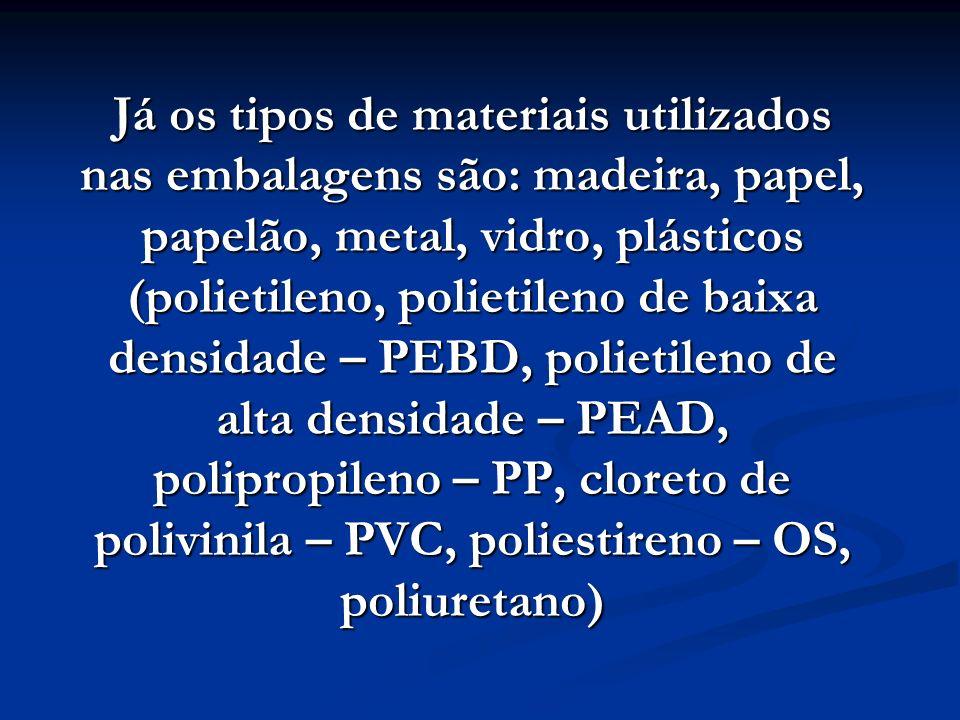 Já os tipos de materiais utilizados nas embalagens são: madeira, papel, papelão, metal, vidro, plásticos (polietileno, polietileno de baixa densidade