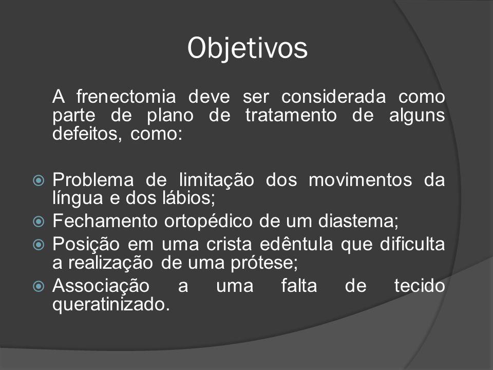 Objetivos A frenectomia deve ser considerada como parte de plano de tratamento de alguns defeitos, como: Problema de limitação dos movimentos da língu