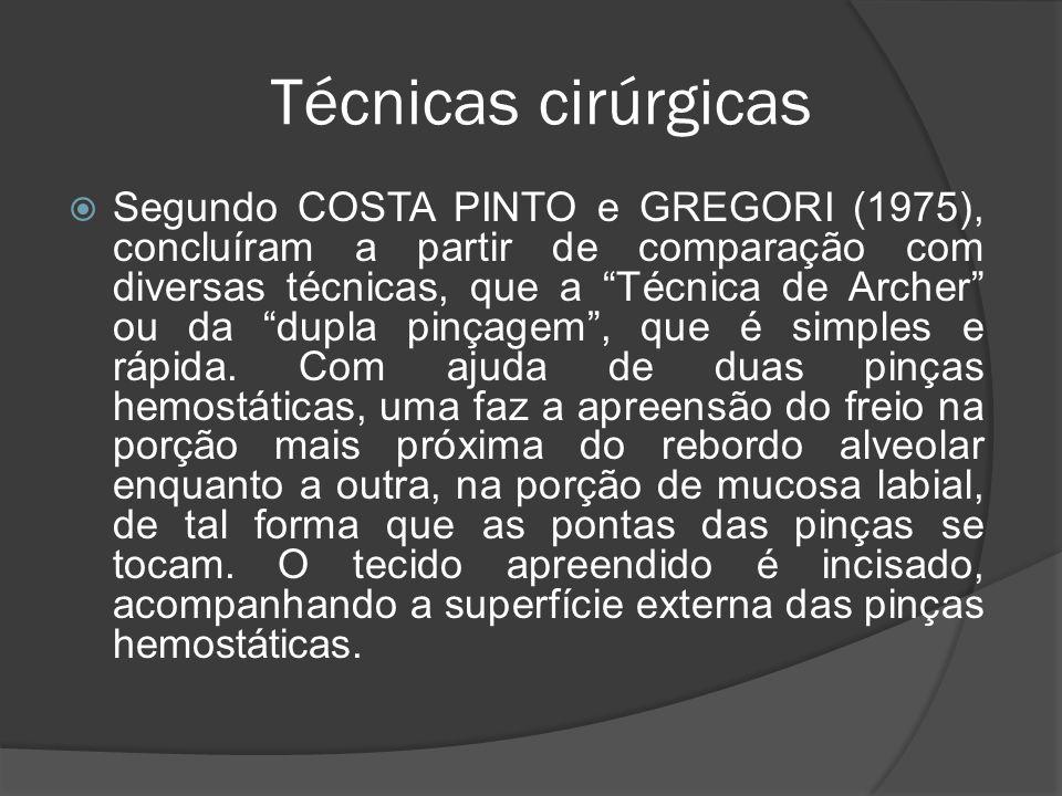 Técnicas cirúrgicas Segundo COSTA PINTO e GREGORI (1975), concluíram a partir de comparação com diversas técnicas, que a Técnica de Archer ou da dupla