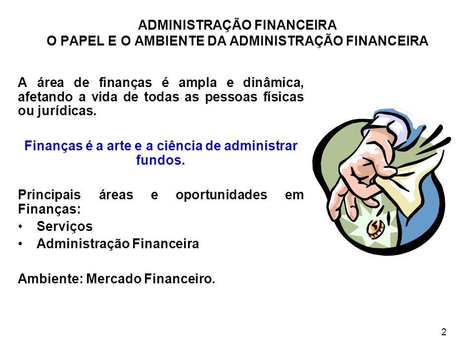 3 A FUNÇÃO DA ADMINISTRAÇÃO FINANCEIRA Decisões empresariais são medidas em termos financeiros; Todas as áreas necessitam interagir com o pessoal de finanças; A dimensão e a importância da função da Administração Financeira dependem do tamanho da empresa; Relação de Finanças com Economia (análise marginal ou conhecida como análise de custo adicional x benefício adicional); Relação de Finanças com Contabilidade (regime de competência x regime de caixa); A Administração Financeira utiliza os dados fornecidos pela Contabilidade para a Tomada de Decisões.