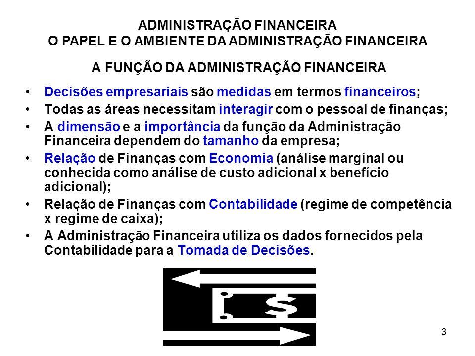 3 A FUNÇÃO DA ADMINISTRAÇÃO FINANCEIRA Decisões empresariais são medidas em termos financeiros; Todas as áreas necessitam interagir com o pessoal de f