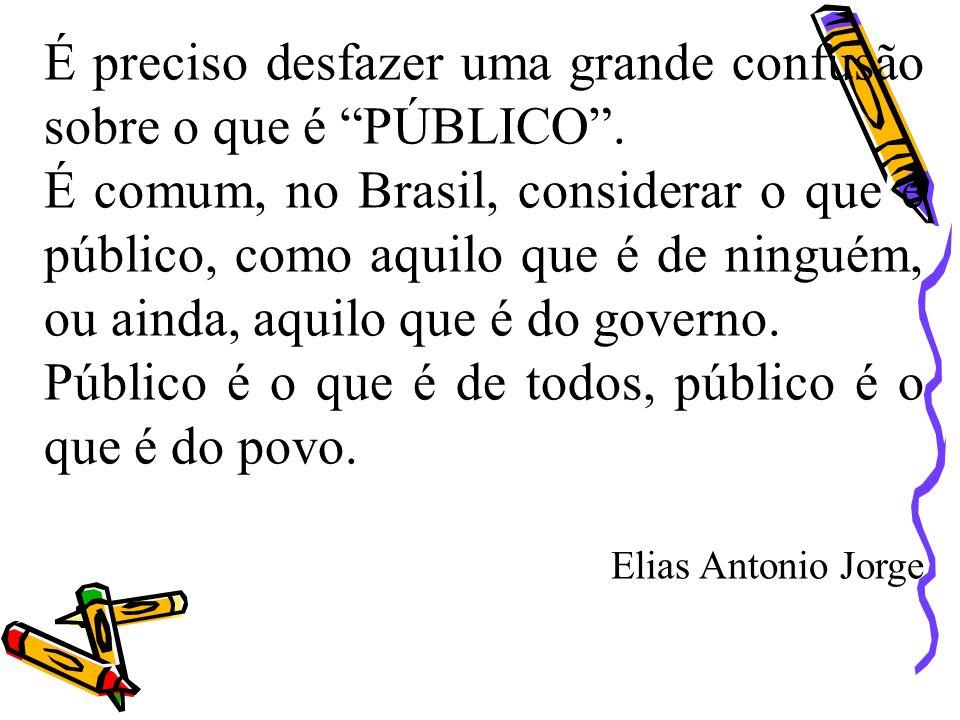 É preciso desfazer uma grande confusão sobre o que é PÚBLICO. É comum, no Brasil, considerar o que é público, como aquilo que é de ninguém, ou ainda,