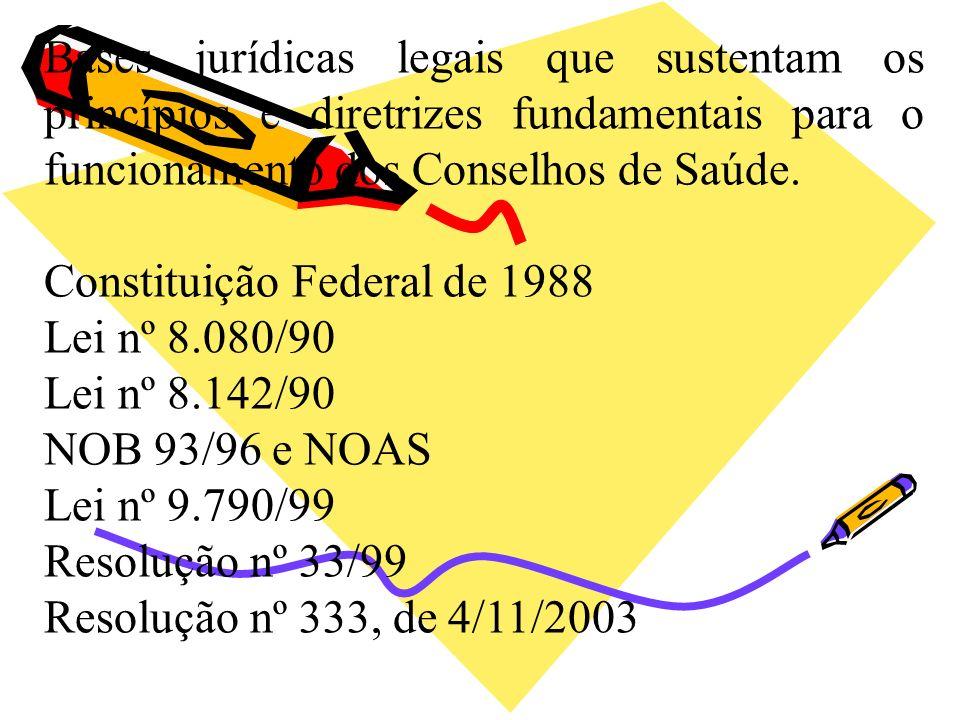 Bases jurídicas legais que sustentam os princípios e diretrizes fundamentais para o funcionamento dos Conselhos de Saúde. Constituição Federal de 1988
