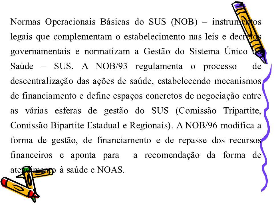 Normas Operacionais Básicas do SUS (NOB) – instrumentos legais que complementam o estabelecimento nas leis e decretos governamentais e normatizam a Ge