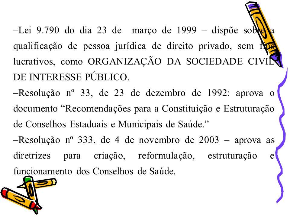 –Lei 9.790 do dia 23 de março de 1999 – dispõe sobre a qualificação de pessoa jurídica de direito privado, sem fins lucrativos, como ORGANIZAÇÃO DA SO