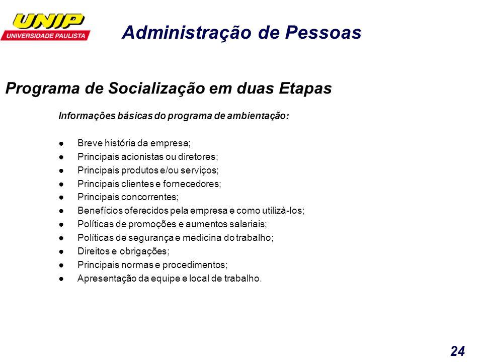 Administração de Pessoas 24 Informações básicas do programa de ambientação: Breve história da empresa; Principais acionistas ou diretores; Principais