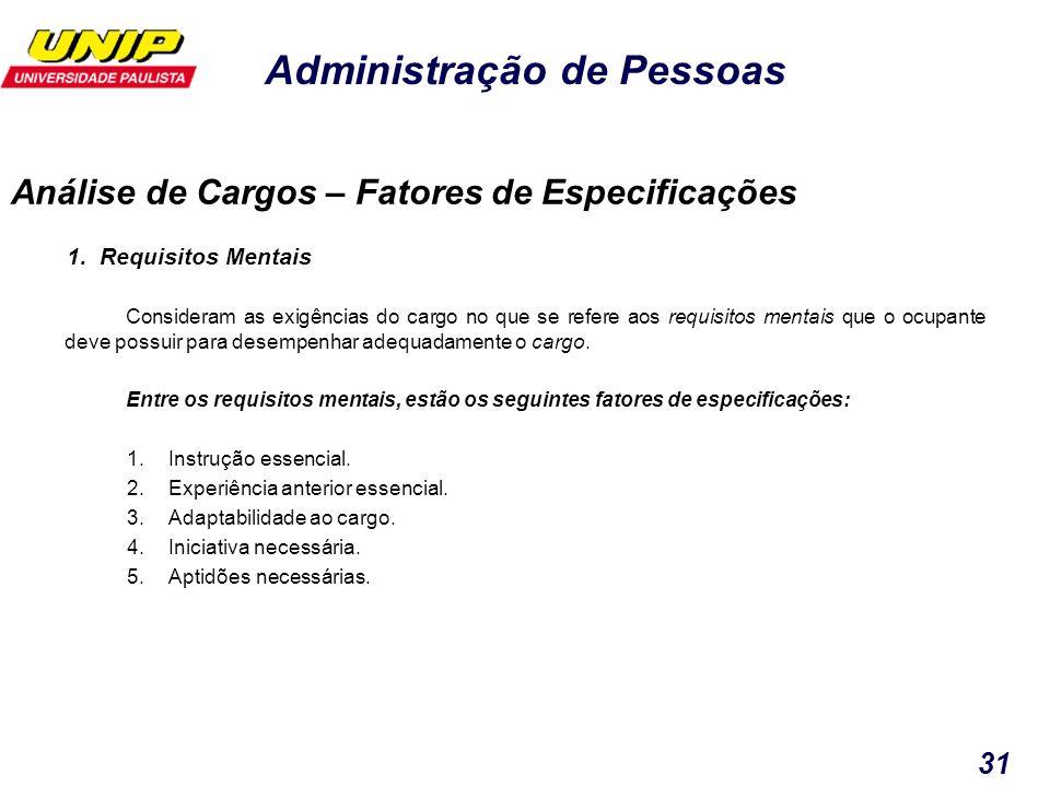 Administração de Pessoas 31 1. Requisitos Mentais Consideram as exigências do cargo no que se refere aos requisitos mentais que o ocupante deve possui