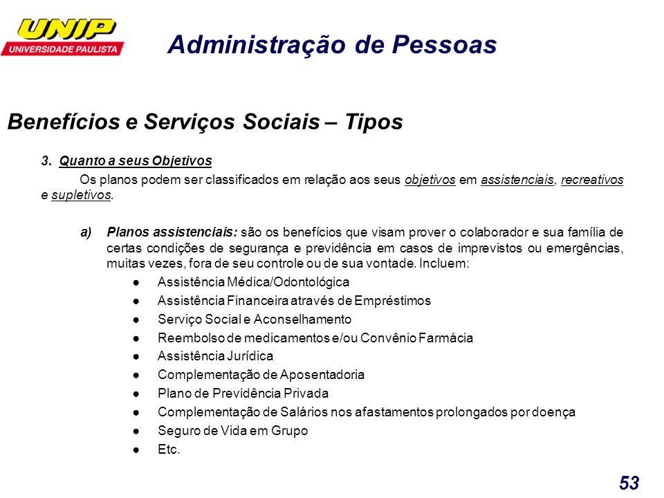 Administração de Pessoas 53 3. Quanto a seus Objetivos Os planos podem ser classificados em relação aos seus objetivos em assistenciais, recreativos e