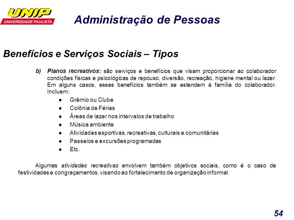 Administração de Pessoas 54 b)Planos recreativos: são serviços e benefícios que visam proporcionar ao colaborador condições físicas e psicológicas de
