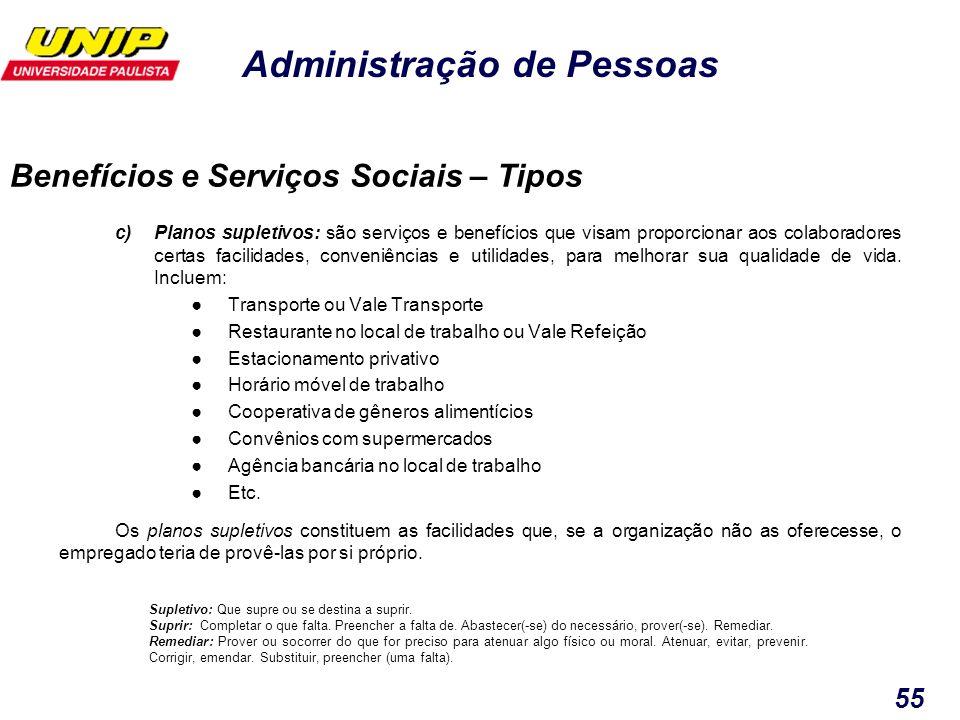 Administração de Pessoas 55 c)Planos supletivos: são serviços e benefícios que visam proporcionar aos colaboradores certas facilidades, conveniências