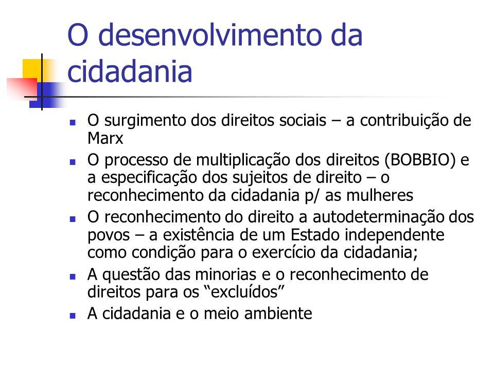 O desenvolvimento da cidadania O surgimento dos direitos sociais – a contribuição de Marx O processo de multiplicação dos direitos (BOBBIO) e a especi