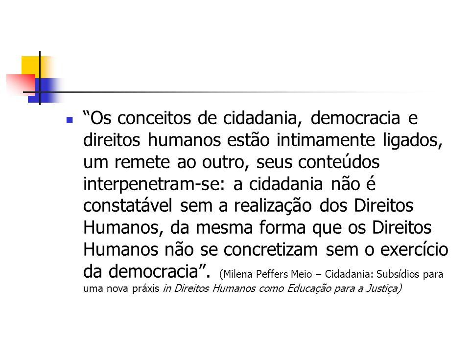 Os conceitos de cidadania, democracia e direitos humanos estão intimamente ligados, um remete ao outro, seus conteúdos interpenetram-se: a cidadania n