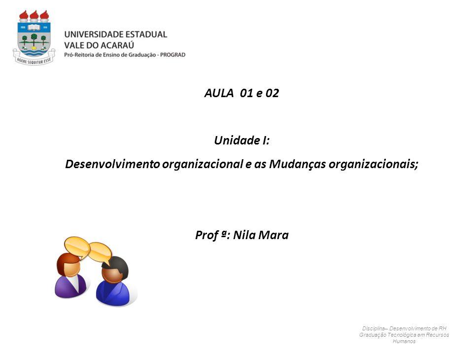 Disciplina– Desenvolvimento de RH Graduação Tecnológica em Recursos Humanos AULA 01 e 02 Unidade I: Desenvolvimento organizacional e as Mudanças organ