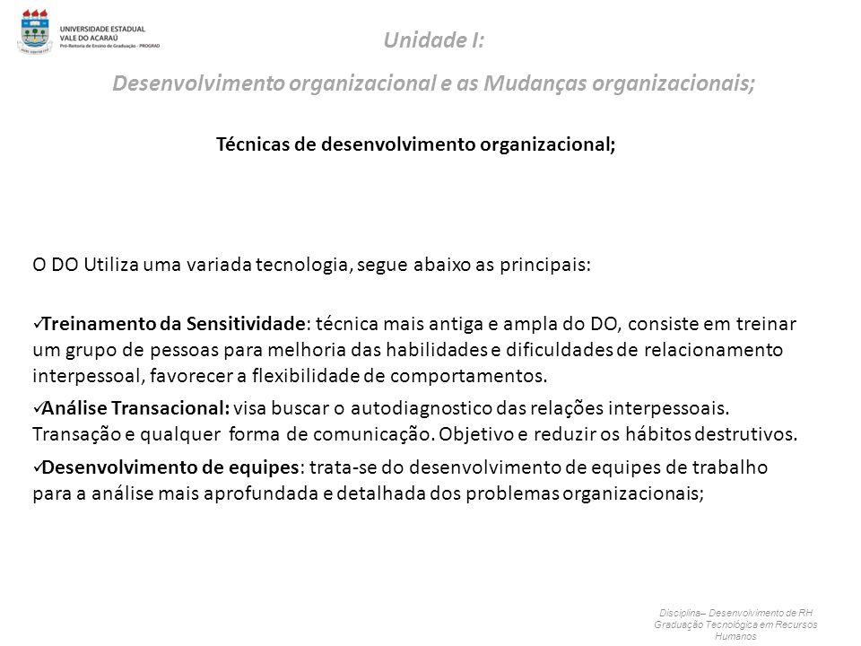 Técnicas de desenvolvimento organizacional; Disciplina– Desenvolvimento de RH Graduação Tecnológica em Recursos Humanos Unidade I: Desenvolvimento org