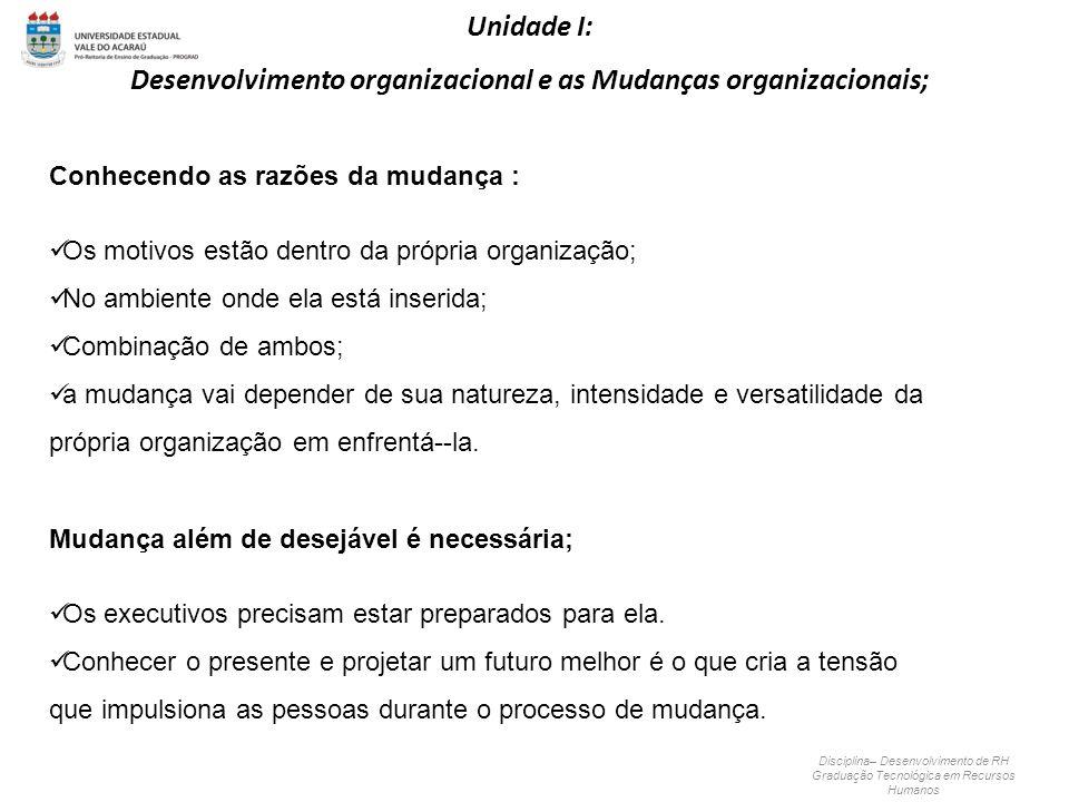 Conhecendo as razões da mudança : Os motivos estão dentro da própria organização; No ambiente onde ela está inserida; Combinação de ambos; a mudança v