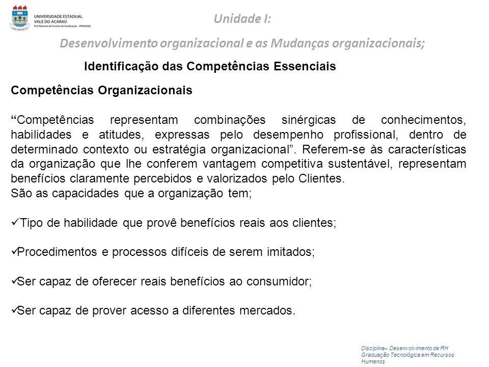 Competências Organizacionais Competências representam combinações sinérgicas de conhecimentos, habilidades e atitudes, expressas pelo desempenho profi