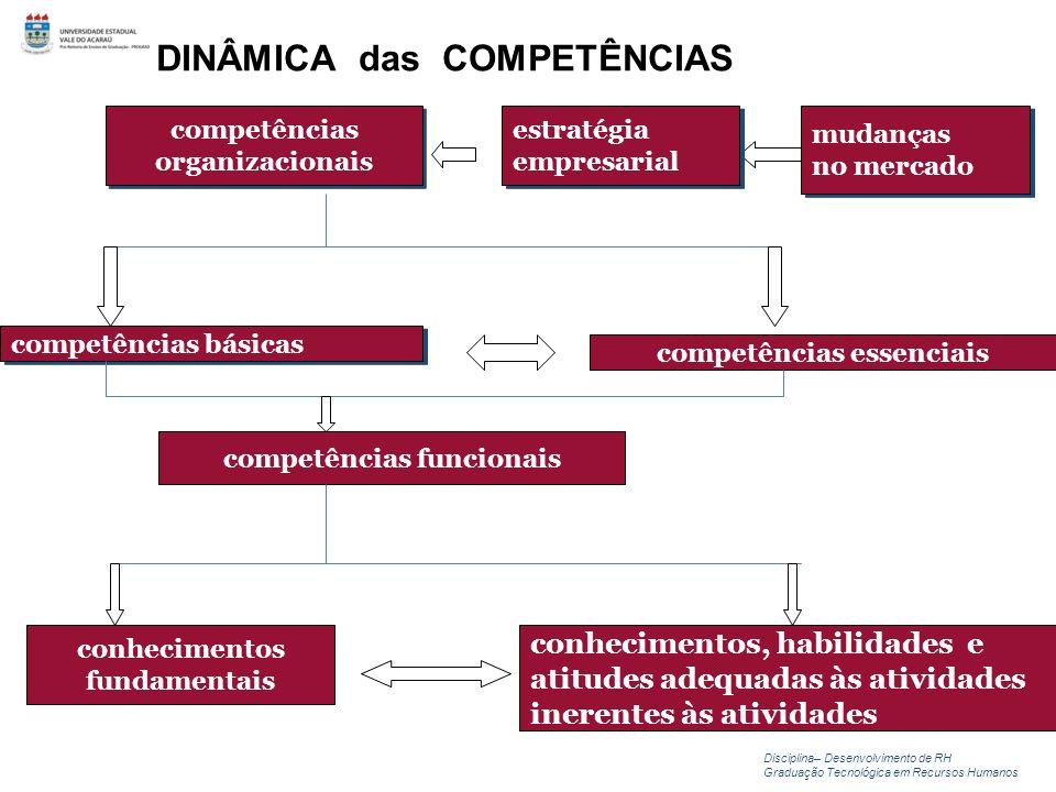 DINÂMICA das COMPETÊNCIAS competências organizacionais competências organizacionais mudanças no mercado mudanças no mercado estratégia empresarial est