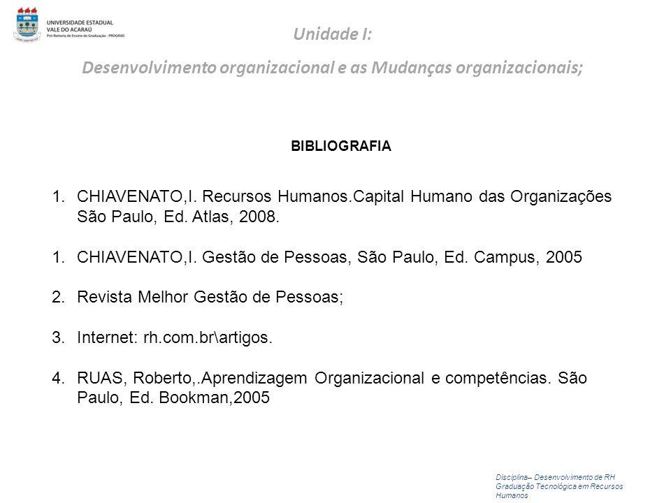 Disciplina– Desenvolvimento de RH Graduação Tecnológica em Recursos Humanos Unidade I: Desenvolvimento organizacional e as Mudanças organizacionais; B