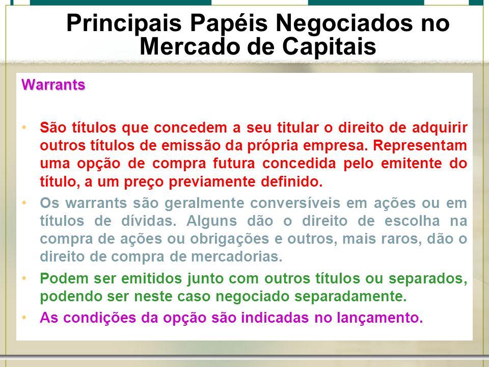 6/1/201423 Principais Papéis Negociados no Mercado de Capitais Warrants São títulos que concedem a seu titular o direito de adquirir outros títulos de