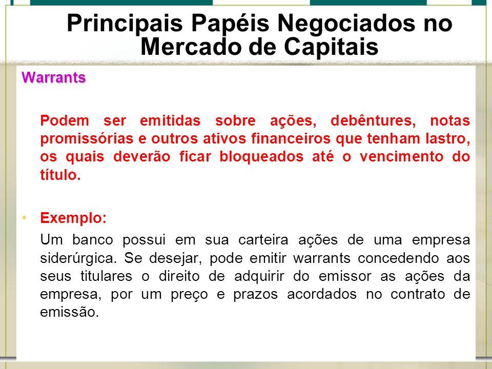6/1/201424 Principais Papéis Negociados no Mercado de Capitais Warrants Podem ser emitidas sobre ações, debêntures, notas promissórias e outros ativos