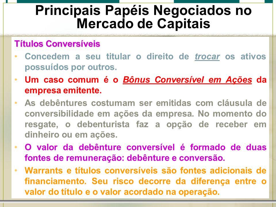 6/1/201425 Títulos Conversíveis Concedem a seu titular o direito de trocar os ativos possuídos por outros. Um caso comum é o Bônus Conversível em Açõe
