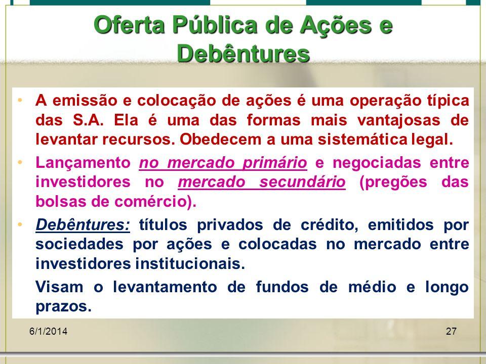 6/1/201427 Oferta Pública de Ações e Debêntures A emissão e colocação de ações é uma operação típica das S.A. Ela é uma das formas mais vantajosas de