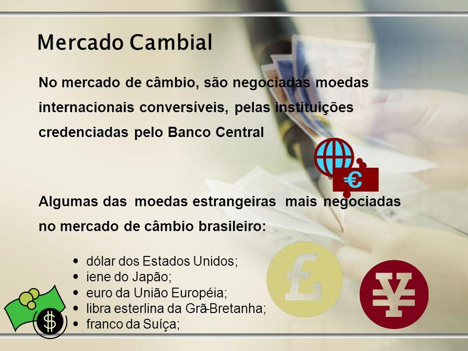 Mercado Cambial No mercado de câmbio, são negociadas moedas internacionais conversíveis, pelas instituições credenciadas pelo Banco Central Algumas da