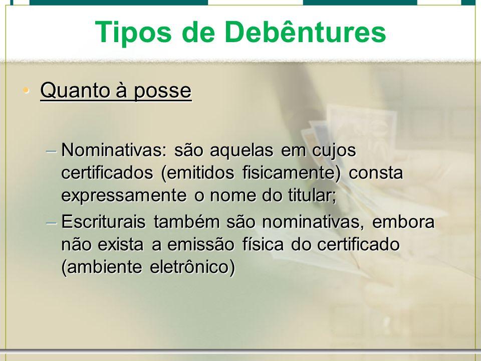 Tipos de Debêntures Quanto à posseQuanto à posse –Nominativas: são aquelas em cujos certificados (emitidos fisicamente) consta expressamente o nome do