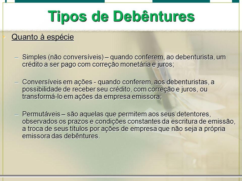 Tipos de Debêntures Quanto à espécieQuanto à espécie –Simples (não conversíveis) – quando conferem, ao debenturista, um crédito a ser pago com correçã