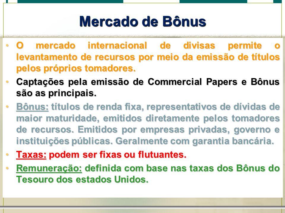 6/1/201441 Mercado de Bônus O mercado internacional de divisas permite o levantamento de recursos por meio da emissão de títulos pelos próprios tomado