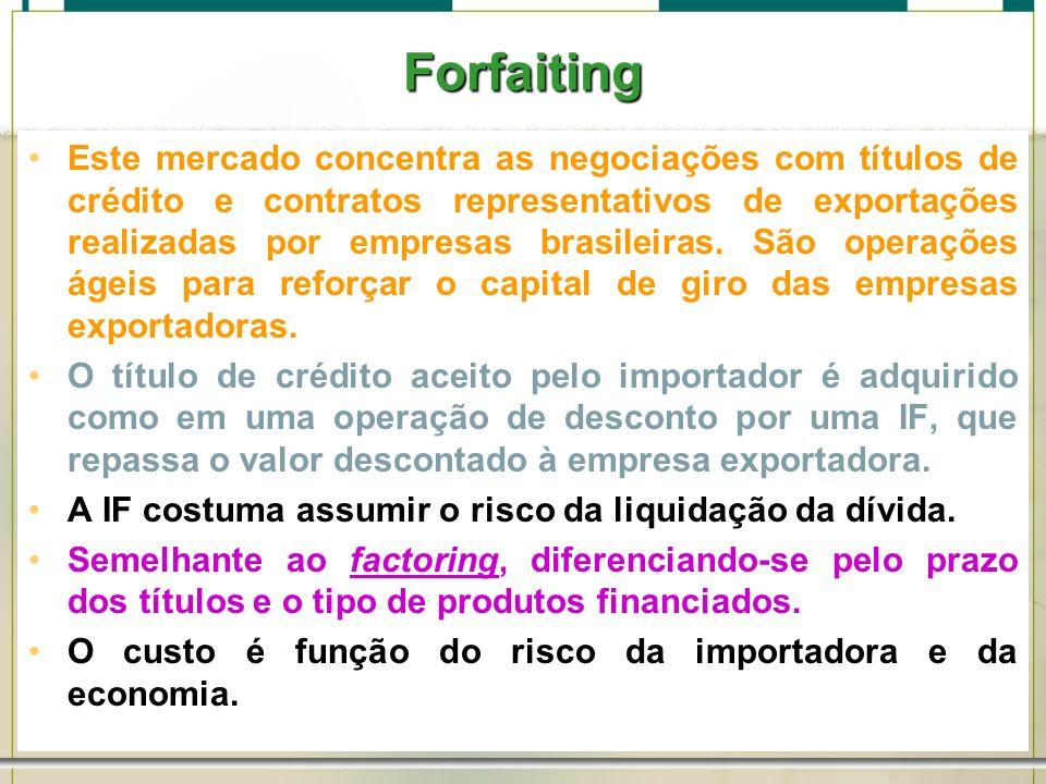 6/1/201448 Forfaiting Este mercado concentra as negociações com títulos de crédito e contratos representativos de exportações realizadas por empresas