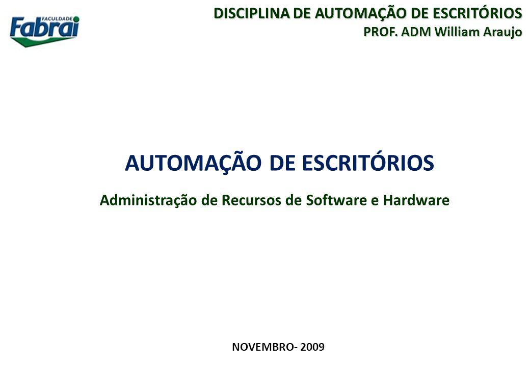 2 FACULDADE FABRAI ANHANGUERA – 2009 AUTOMAÇÃO DE ESCRITÓRIOS Administração de Recursos de Software e Hardware Conteúdo A)Conceitos e componentes da Tecnologia da Informação.