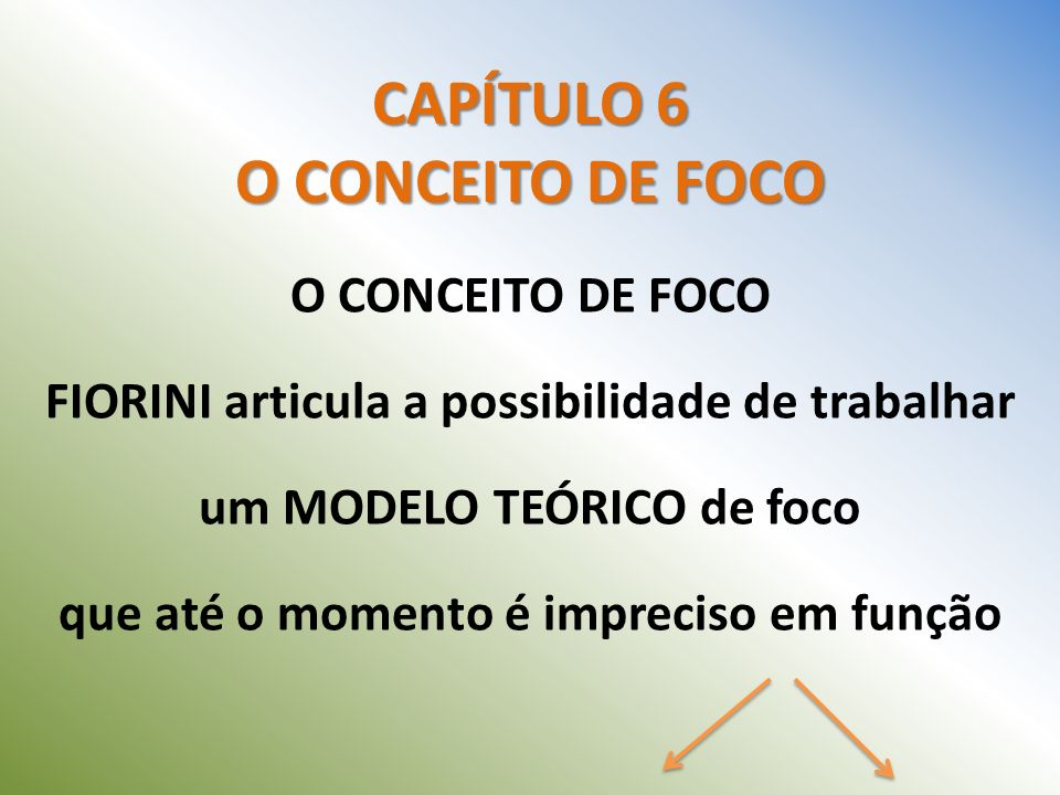 CAPÍTULO 6 O CONCEITO DE FOCO O CONCEITO DE FOCO FIORINI articula a possibilidade de trabalhar um MODELO TEÓRICO de foco que até o momento é impreciso