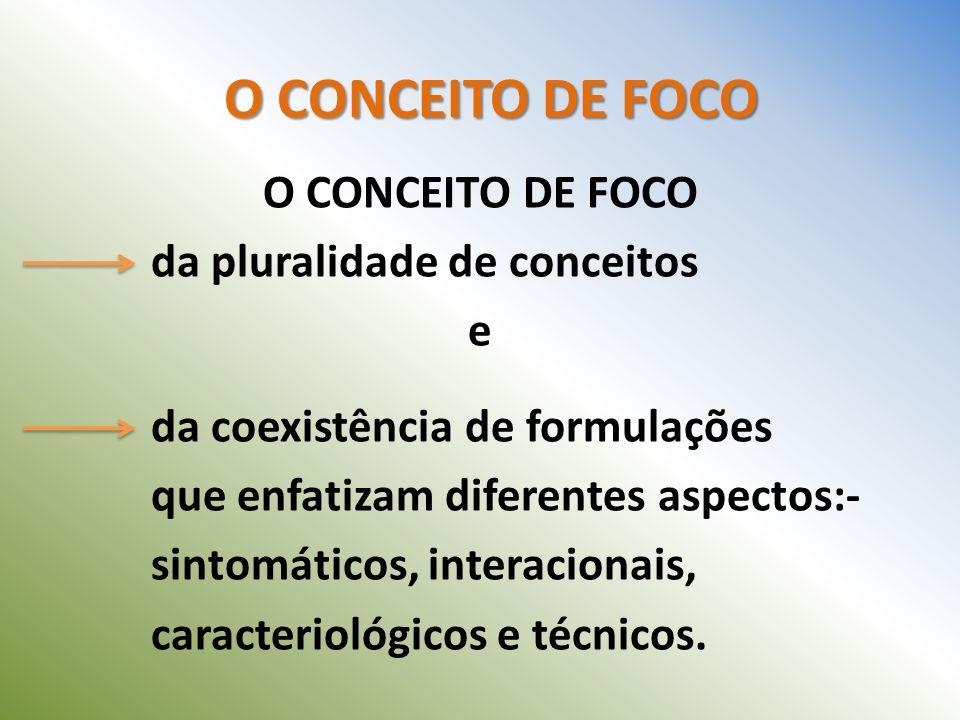 O CONCEITO DE FOCO da pluralidade de conceitos e da coexistência de formulações que enfatizam diferentes aspectos:- sintomáticos, interacionais, carac