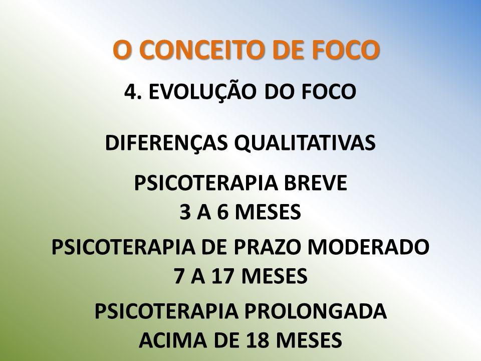 O CONCEITO DE FOCO 4. EVOLUÇÃO DO FOCO DIFERENÇAS QUALITATIVAS PSICOTERAPIA BREVE 3 A 6 MESES PSICOTERAPIA DE PRAZO MODERADO 7 A 17 MESES PSICOTERAPIA