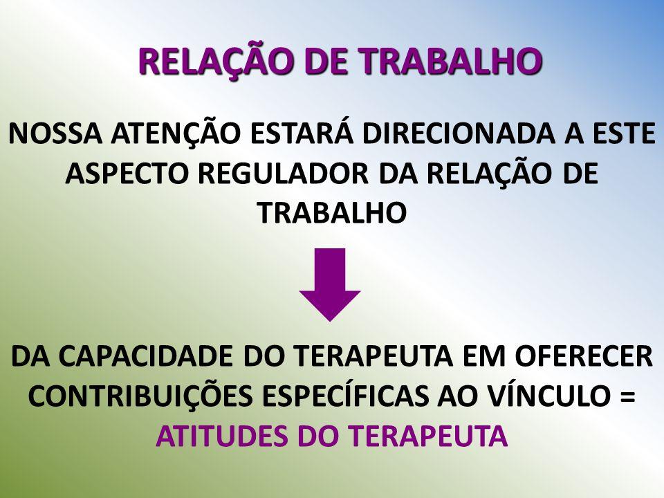 RELAÇÃO DE TRABALHO NOSSA ATENÇÃO ESTARÁ DIRECIONADA A ESTE ASPECTO REGULADOR DA RELAÇÃO DE TRABALHO DA CAPACIDADE DO TERAPEUTA EM OFERECER CONTRIBUIÇ