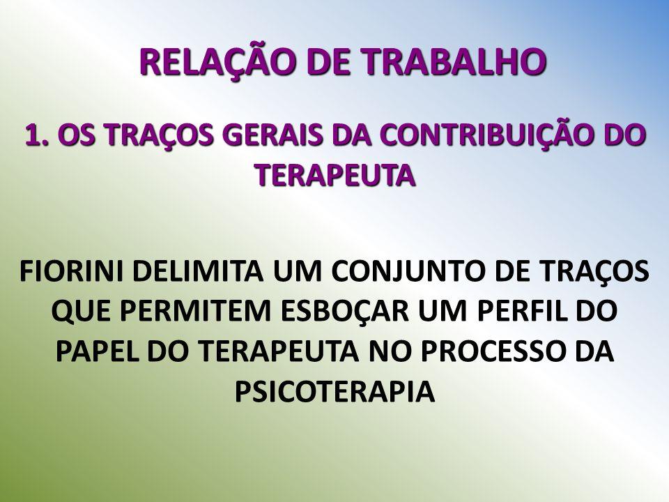 RELAÇÃO DE TRABALHO 1. OS TRAÇOS GERAIS DA CONTRIBUIÇÃO DO TERAPEUTA FIORINI DELIMITA UM CONJUNTO DE TRAÇOS QUE PERMITEM ESBOÇAR UM PERFIL DO PAPEL DO