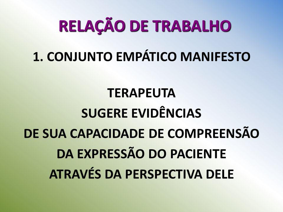 RELAÇÃO DE TRABALHO 1. CONJUNTO EMPÁTICO MANIFESTO TERAPEUTA SUGERE EVIDÊNCIAS DE SUA CAPACIDADE DE COMPREENSÃO DA EXPRESSÃO DO PACIENTE ATRAVÉS DA PE