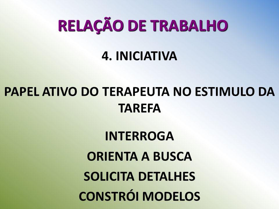 RELAÇÃO DE TRABALHO 4. INICIATIVA PAPEL ATIVO DO TERAPEUTA NO ESTIMULO DA TAREFA INTERROGA ORIENTA A BUSCA SOLICITA DETALHES CONSTRÓI MODELOS