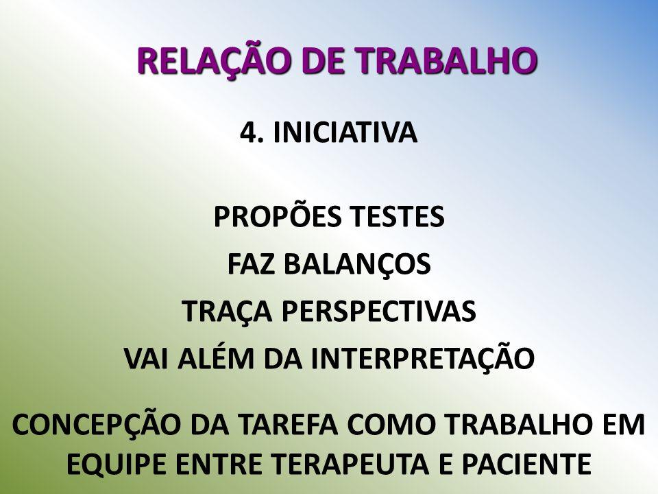 RELAÇÃO DE TRABALHO 4. INICIATIVA PROPÕES TESTES FAZ BALANÇOS TRAÇA PERSPECTIVAS VAI ALÉM DA INTERPRETAÇÃO CONCEPÇÃO DA TAREFA COMO TRABALHO EM EQUIPE
