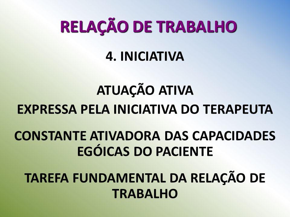 RELAÇÃO DE TRABALHO 4. INICIATIVA ATUAÇÃO ATIVA EXPRESSA PELA INICIATIVA DO TERAPEUTA CONSTANTE ATIVADORA DAS CAPACIDADES EGÓICAS DO PACIENTE TAREFA F