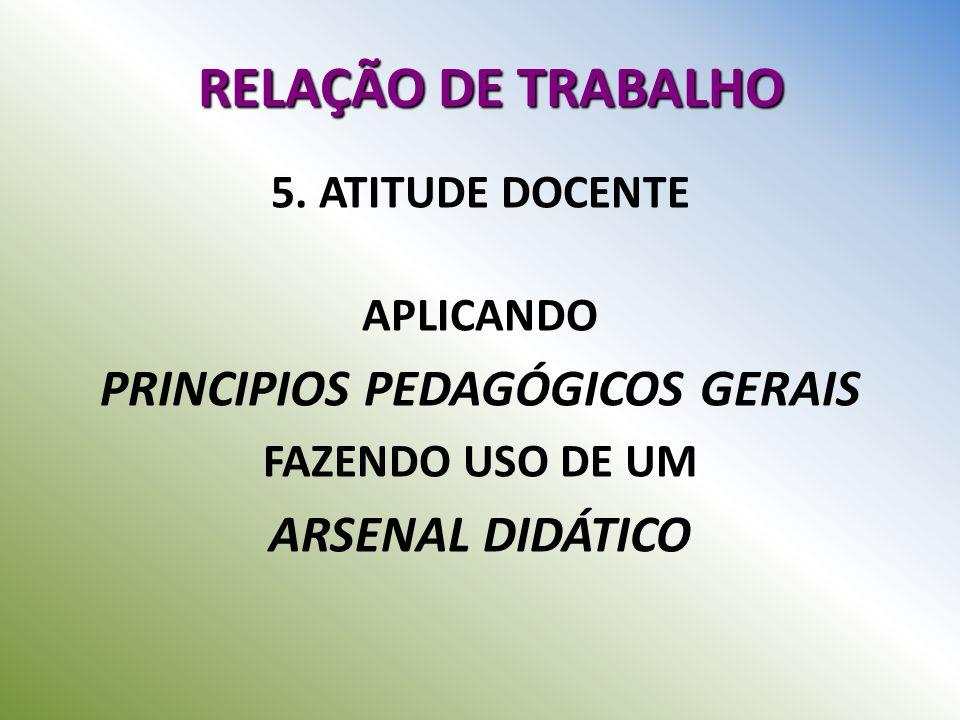 RELAÇÃO DE TRABALHO 5. ATITUDE DOCENTE APLICANDO PRINCIPIOS PEDAGÓGICOS GERAIS FAZENDO USO DE UM ARSENAL DIDÁTICO