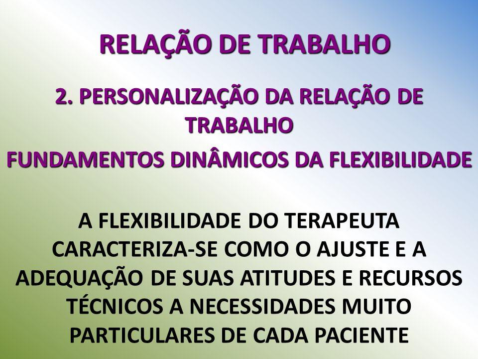 RELAÇÃO DE TRABALHO 2. PERSONALIZAÇÃO DA RELAÇÃO DE TRABALHO FUNDAMENTOS DINÂMICOS DA FLEXIBILIDADE A FLEXIBILIDADE DO TERAPEUTA CARACTERIZA-SE COMO O